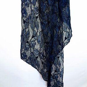 #C30 Blue & Black Lace Floral Print Scarf